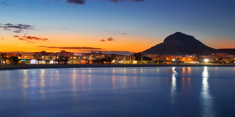 Alicante Javea sunset beach night view