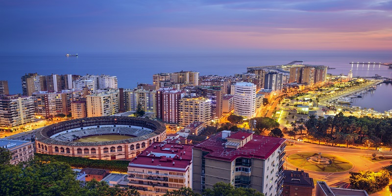 Malaga, Spain Cityscape at